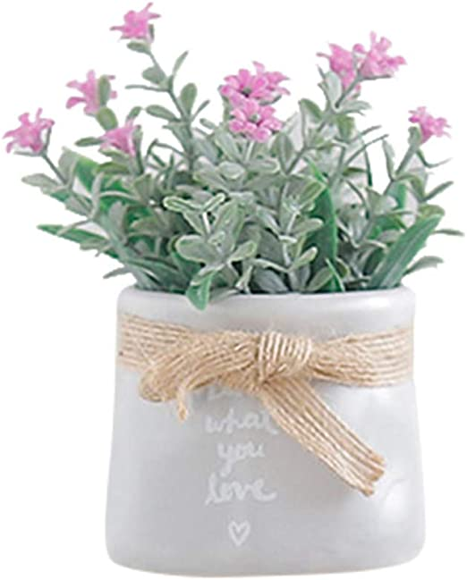 Amazon Com Bamboo Store Artificial Flowers With Vase Plastic Mini