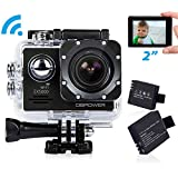 DBPOWER EX5000 2.0inch WIFI 14MP 1080P FHD Waterproof Sports Action Camera with 2 Improved Batteries and FREE Accessories(Black)