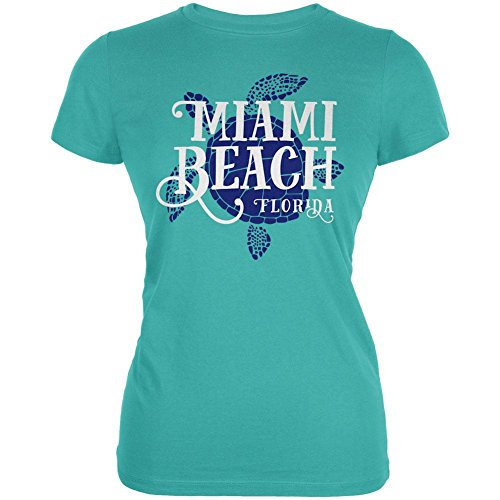 Summer Sun Sea Turtle Miami Beach Juniors Soft T Shirt Teal - Of Women Beach Miami