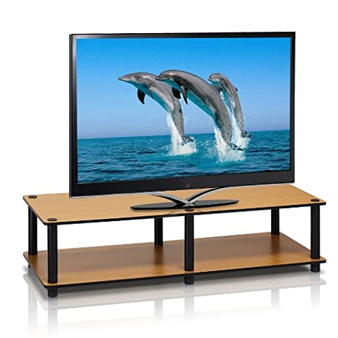 Furinno 11175LC(BK)/BK Just No Tools Wide Light Cherry Television Stand with Black Tube - Cherry Finished Tv Stand