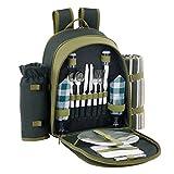 VonShef-2-Personen-Grner-Picknick-Rucksack-Picknickkorb-mit-Khlfach-inklusive-Geschirr-Fleecedecke