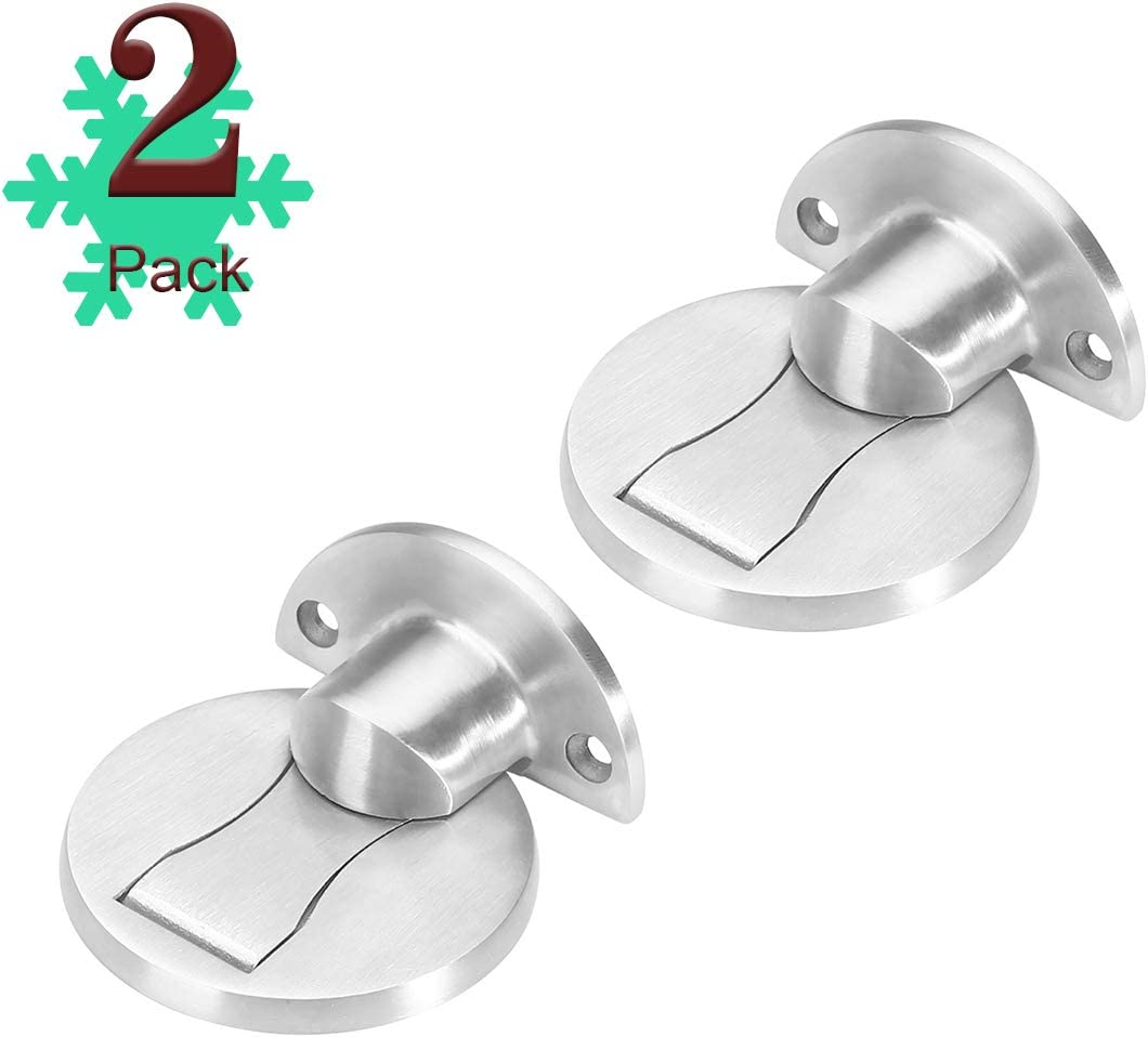No Drilling 2 Pack Invisible Brushed Metal Door Catches Door Stopper Soft Catch Heavy Duty Solid Door Holder with 3M Adhesive Tape Magnetic Door Stops Floor Mount Door Stop Bronze