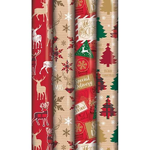 4x 8m rotoli di Natale carta da regalo Tradizionale scozzese renna Eurowrap X-23622-GW