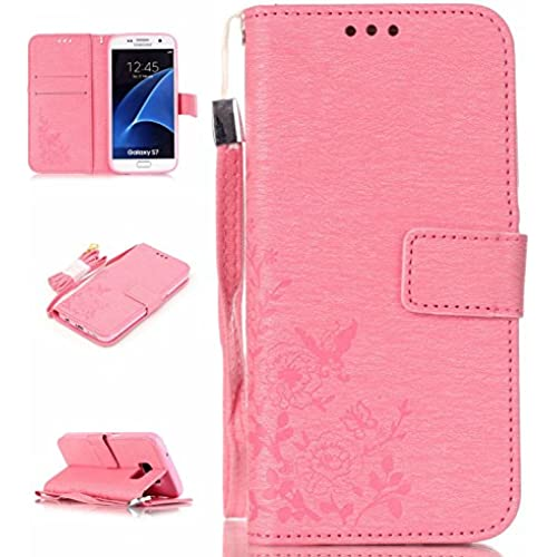 S7 Case,Galaxy S7 Case,ARMORCOO(TM) Premium PU Synthetic Coining Flowers Leather Magnetic Flap Closure with Hand Strap Card Slots Wallet Flip Sales