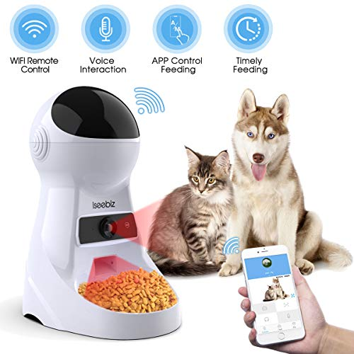 Iseebiz Automatic Cat Feeder Pet Feeder 3L Food Dispenser for Medium and Large Cats and Dogs with Wi-Fi Camera Time and Meal Size Programmable Recorder Up to 6 Meals A Day