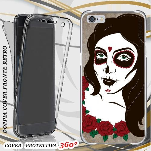 CUSTODIA COVER CASE SKULL LADY VINTAGE PER IPHONE 6 FRONT BACK