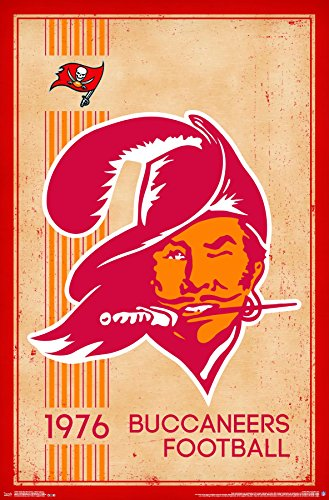 Poster Sports Logo (Trends International Tampa Bay Buccaneers Retro Logo Wall Poster 22.375