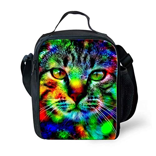 Aulaygo 3D Camouflage Animal Print Lunch Bags Cat Pattern Durable Thermal Lunchbox Portable Lunch Container Food Carrier Cooler Tote with Mesh Water Bottle Pocket for Boys ()
