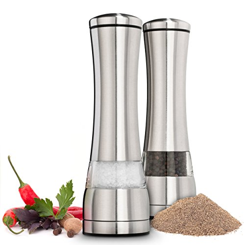 Salt and Pepper Grinder Set – Stainless Steel w/ Ceramic Blade and Easy Twist Technology (2 units)