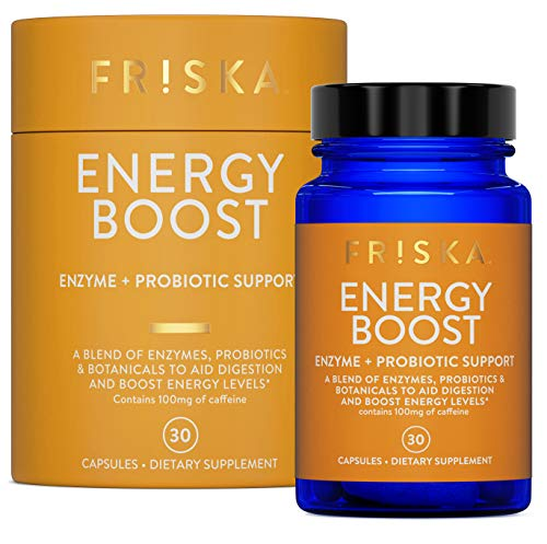 Friska Energy Boost | Digestive Enzyme and Probiotic Supplement | Natural Digestion Health | Pure Daily Energy Support and Gas Relief | 30 Capsules