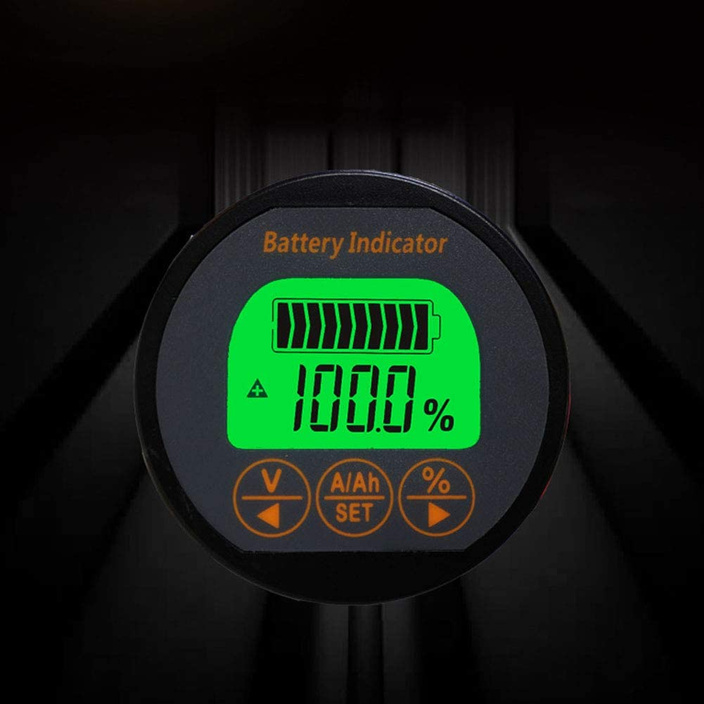 Battery Capacity Indicator Tester Meter Coulometer 54MM//2.1 Inch DC 8-80V 100A Battery Monitor for Portable Equipments E-bike Balance Cars Cleaning Machines Auto Car Motor Boat Caravan RV Motorhome