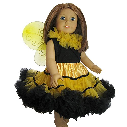 Ballerina Doll Halloween Costume (Doll Clothes Bee Fairy Princess outfit with pettiskirt tutu top and wings - fits 18