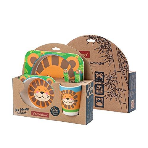 5 PC SET - Super Cute Animal Theme Kids Dinnerware Set - Eco-Friendly Bamboo - BPA Free (Multiple Designs) (Lion)