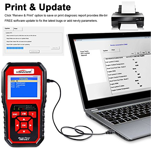 KONNWEI OBD2 Scanner, OBD Code Reader Code Scanner OBDII & EOBD Car Engine Fault CAN Diagnostic Scan Tool with I/M Readiness(Updated 2018) by KONNWEI (Image #3)