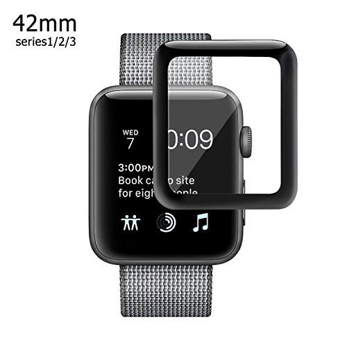 Apple Watch 42mm 3D Screen Protector (Series 1, Series 2, Series 3), Amoner Tempered Glass Screen Protector [Anti-scratch] [Bubble-free] for Apple iWatch [1 Pack, Black]