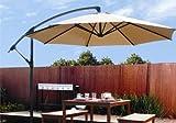 GHP 10-Ft 6-Ribs 240g Polyester Fabric Tan Outdoor Patio Cantilever Umbrella Canopy