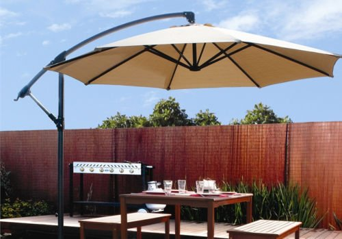 Exceptionnel GHP 10 Ft 6 Ribs 240g Polyester Fabric Tan Outdoor Patio Cantilever Umbrella  Canopy