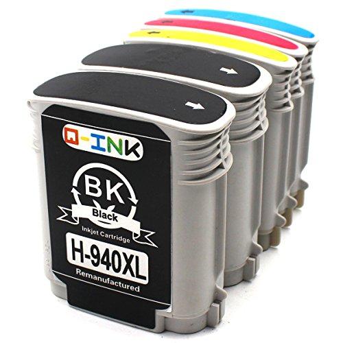 QINK 5 Pack Remanufactured 940XL Ink Cartirdges Show Ink Level 2BK/1C/1M/1Y by QINK