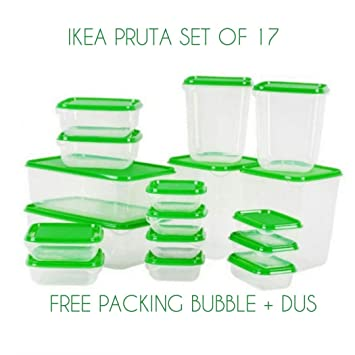 IKEA PRUTA Plastic Container / Food Storage Containers 17 Piece Set+Free Company made Safety Gas Lighter for kitchen use by Ikea: Amazon.es: Hogar