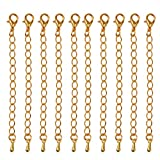 New 10 Packs of Necklace Extenders Jewelry Extension Chain 7.5 mm-Gold/Silver - Gold, 7.5 cm