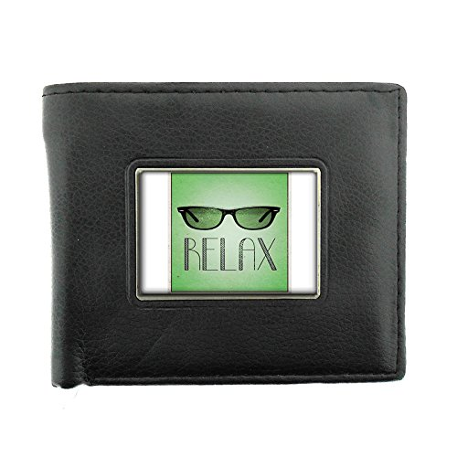Black Bifold Leather Material Wallet D-032 Relax Retro - Sunglasses Galore