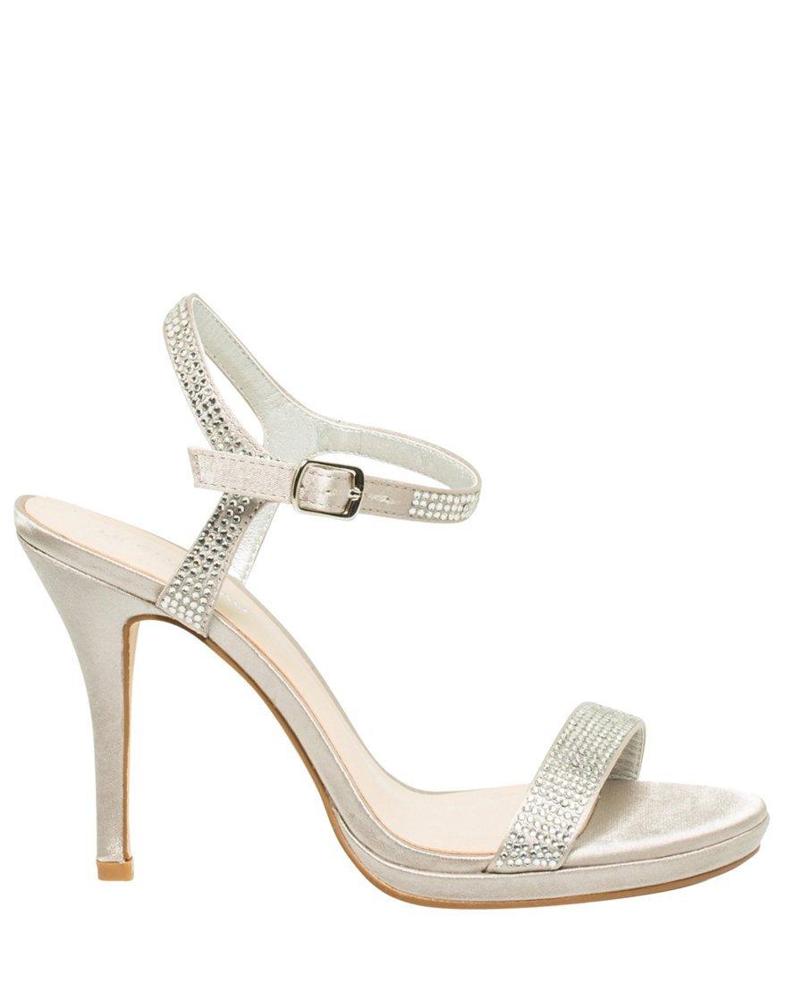 LE CHÂTEAU Women's High Heel Evening Platform Satin Sandal,6,Silver