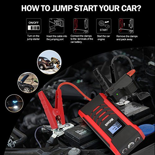 Motenik 800A Peak 15000mAh Portable Car Jump Starter with Emergency Light (Up to 7L Gas or 5.5L Diesel Engines) 5 Modes Car Jump Starter Auto Battery Booster Dual USB Power Bank Updated Version by Motenik (Image #6)