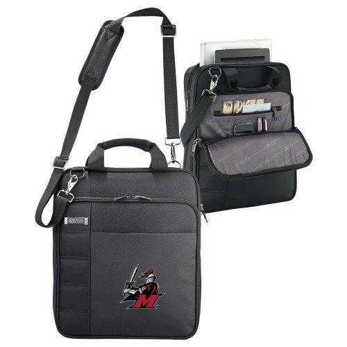 Manhattanville Kenneth Cole Black Vertical Checkpoint Friendly Messenger 'M with Knight' by CollegeFanGear