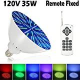 MOEBULB 120V 35W LED Pool Bulb Color Changing Replacement Swimming Pool Light for Pentair Hayward Light Fixture Inground Pool E27/E26 with Switch Remote Control (120V 35W)