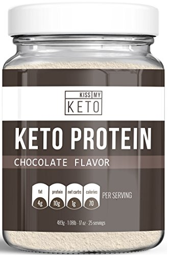 Kiss My Keto Chocolate Keto Protein Powder - MCT Oil Powder C8 with Grass-Fed Collagen Peptides, 25 Servings, Low Carb, Ketogenic Friendly Coffee Creamer, Easy To Mix, Absorb, Digest, Get Into Ketosis