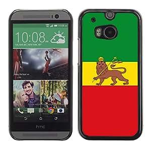 A-type Arte & diseño plástico duro Fundas Cover Cubre Hard Case Cover para HTC One M8 (Rasta Bandera Majestic)