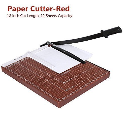 Guillotine Machine (Paper Cutter Guillotine 18 Inch, Heavy Duty A3 A4 Wooden Guillotine Photo Trimmer / Cutter Scrap Machine, 12-sheet Capacity for Home/Office -US STOCK (A3-Red-460X380cm))