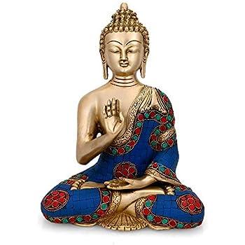 Craftvatika Abhaya Buddha Statue Tibetan Buddha Brass Sculpture Buddhist Buddhism Decorative Figurine Art