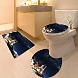 Printsonne 3 Piece Toilet mat Set Shuttle on Take Off Discovery Mission to Explore Galaxy Spaceship Solar Adventure Blue 3 Piece Shower Mat Set