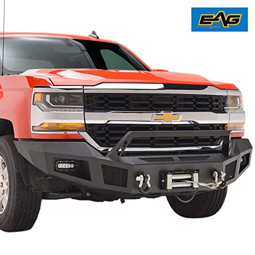 - EAG Front Winch Bumper with LED Lights Heavy Duty Fit for 16-18 Chevy Silverado 1500