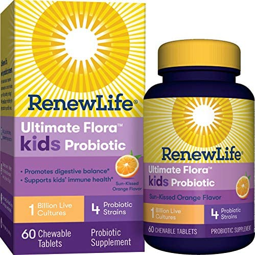 Renew Life Kids Probiotic - Ultimate Flora Kids Probiotic Supplement - Shelf Stable, Gluten, Dairy & Soy Free - 1 Billion CFU - Sun-Kissed Orange, 60 Chewable Tablets