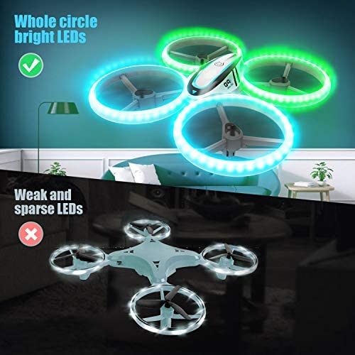 Q9s Drones for Kids,RC Drone with Altitude Hold and Headless Mode,Quadcopter with Blue&Green Light,Propeller Full Protect,2 Batteries and Remote Control,Easy to Fly Kids Gifts Toys for Boys and Girls 515ejR2KxbL