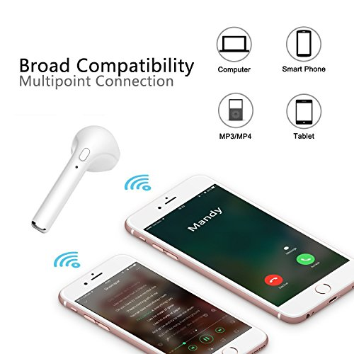 Kingup Bluetooth Headphones,Wireless Earbuds Stereo Earphone Cordless Sport Headsets Compatible with Apple iPhone 8 X 7 7 Plus 6S 6S Plus, Android Smart Phones (White) by Kingup (Image #3)