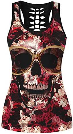 ELINKMALL Women Summer Skull Printed Sleeveless Racerback Vest Tank Top For Halloween