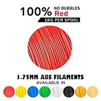 SUNLU ABS Filaments for 3D Printer Red ABS Filament 1.75 mm,Low Odor Dimensional Accuracy +/- 0.02 mm 3D Printing Filament,2.2 LBS (1KG) Spool 3D Printer Filament for Most 3D Printers & 3D Pens,Red by SUNLUGW