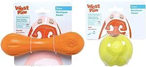 West Paw Zogoflex Jive Ball Dog Chew Toy (2.6-Inch, Granny Smith) & Zogoflex Hurley Dog Bone Chew Toy (Small, Tangerine) – Floatable Pet Toys for Aggressive Chewers, Catch, Fetch