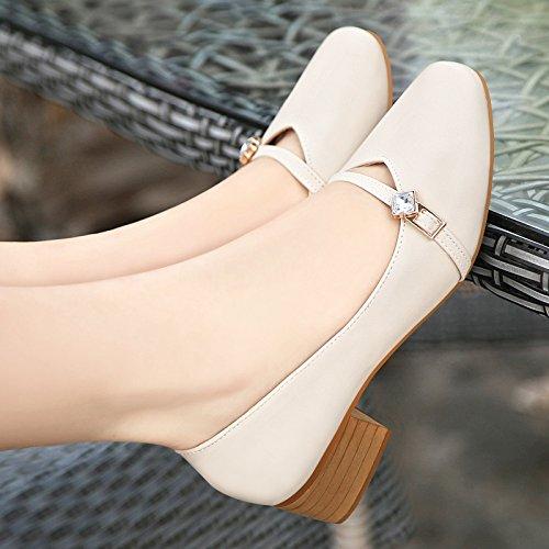 scarpe unica Testa calzature con 43 un tirante in semi grandi spesso numero asolato a nonna quadrata 38 gran codice di donna pelle con beige 40 donna metri calzatura 0CrqwIAC