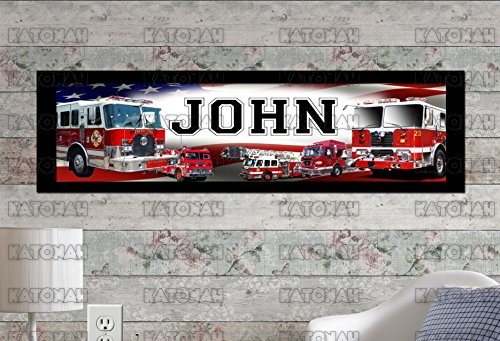 Customized Name Painting Fire Trucks Poster With Your Name On It Personalized Banner With Border Mat