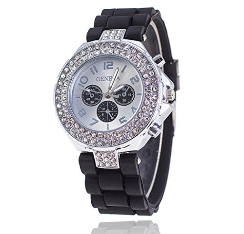 Geneva Crystal (PromiseU Women Lady Geneva Bling Crystal Silicone Quartz Jelly Wrist Watch Black)