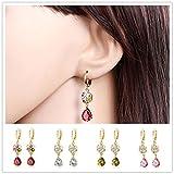 AIMTOPPY Women Jewelry Women Popular Flower Type Water Droplets Zircon Pendant Long Earring (Pink, Free)