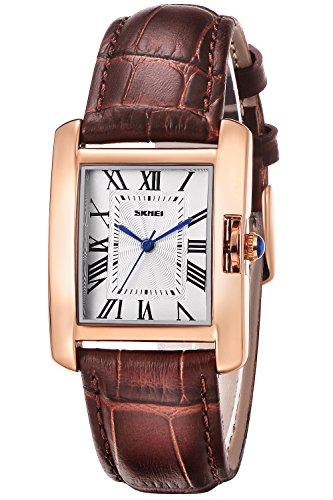 INWET Rectangle Casual Watch for Women, White Dial,Roman Numerals and Brown Leather Strap (Brown Roman Dial)