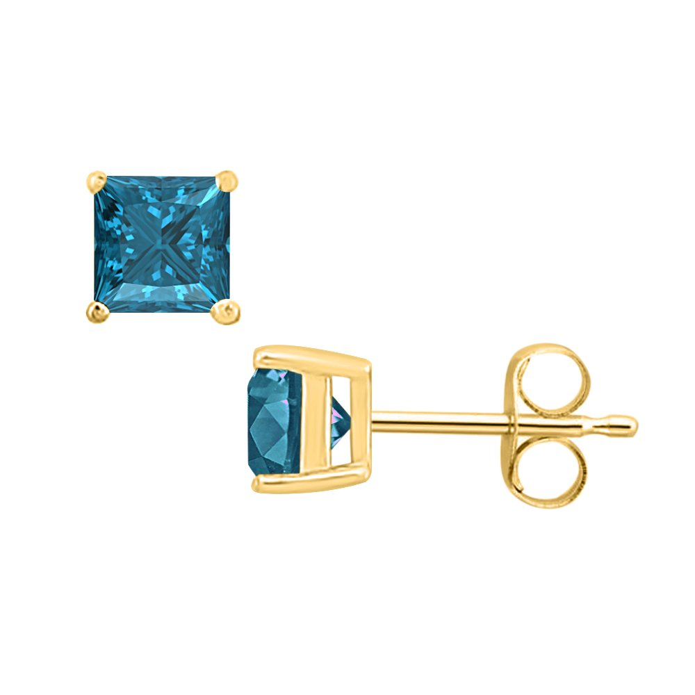 6MM 3.00 CT Princess Cut Swiss Blue Topaz Solitaire Stud Earrings 14K Yellow Gold Over .925 Sterling Silver