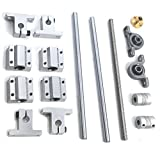 T8 Lead Screw Kit, Mergorun Vertical 8mm Lead Screw 250mm Length Shaft Optical Axis&Pillow Block Bearings Slide Block with Dual Rail Shaft Support SK8 &Flexible Shaft Coupling KP08 Pack of 16