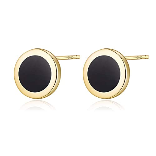 a88145bb2 lureme 925 Sterling Silver Black Lacquer Tiny 5.7mm Round Disc Stud Earrings  (er006086-