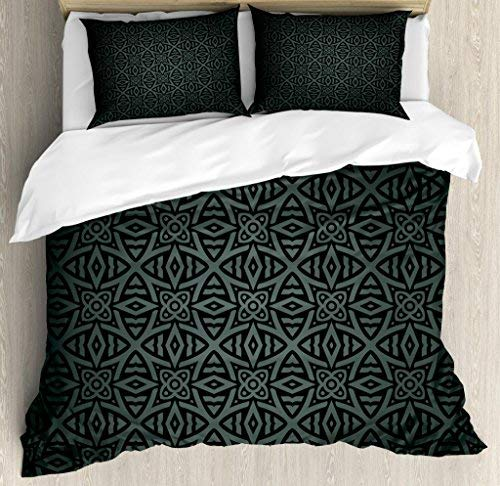 (wanxinfu Dark Grey 3 Piece Bedding Set Duvet Cover Set King Size, Medieval Folkloric Ornament Celtic Pattern Vintage Style Abstract Floral Circles, 3 Pcs Comforter Cover Set with 2 Pillow Cases)